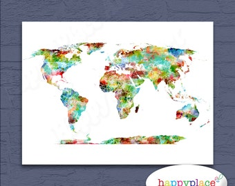 Bright multicolor watercolor world map poster print suit bright and cheerful multicoloured world map art digital download world map gender neutral wall gumiabroncs Gallery