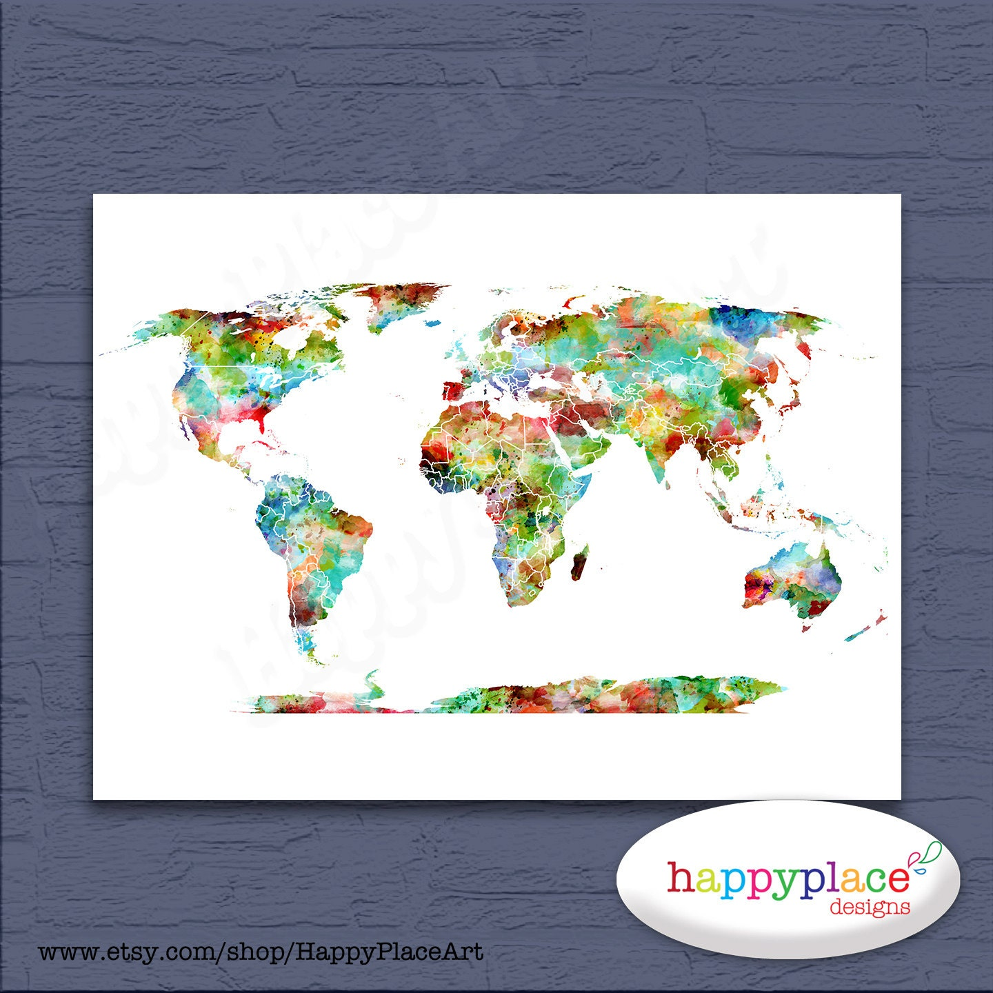 Bright and cheerful multicoloured world map art digital zoom gumiabroncs Gallery
