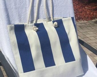 Nautical Beach Bag, Large Tote Bag, Shoulder Bag