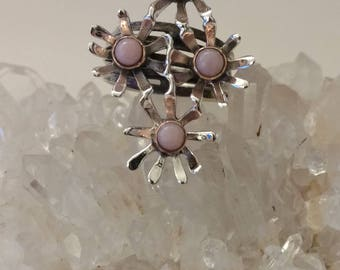 Pink Opal Daisy Ring, Size 9