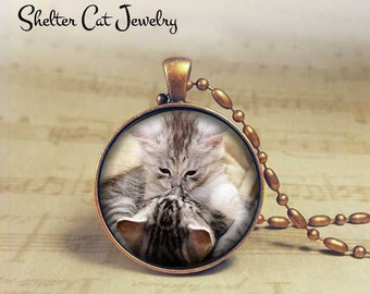 "Playing Kittens Necklace - Adorable 1-1/4"" Circle Pendant or Key Ring - Handcrafted Cat Wearable Photo Art Jewelry, Nature Cat Lover"