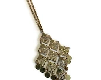 Vintage 1970s Necklace, Gold Tone Pendant Necklace, Metal Disc Necklace, Costume Jewelry