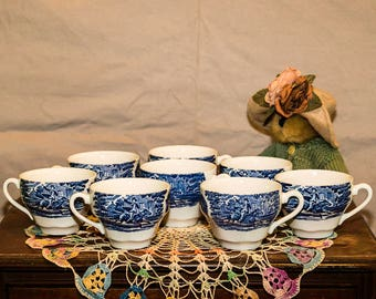 Vintage English Staffordshire China Paul Revere's Ride Coffee/Tea Cups, Blue Transferware, Made in England