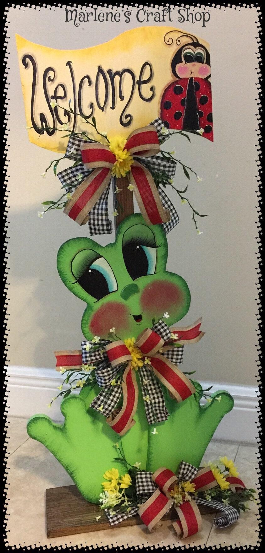 Frog Decoration, Frog Porch Decoration, Frog collector gift, Ladybug ...
