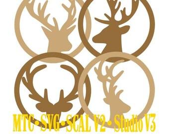 SVG Cut File Deer Gift Tag Set of 4 Christmas Set #01 Masculine MTC Cricut SCAL Cameo Cutting Files
