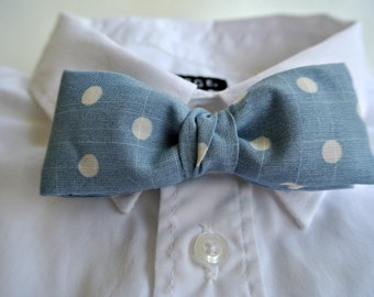 Polka Dot Bow Tie , Men's or Boys Pre-tied Clip-On ,  Blue White Bowtie , Dads Gift for Fathers Day Under 20 for Him