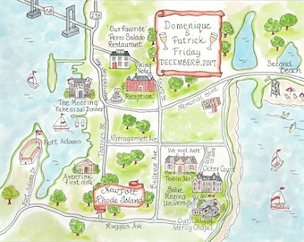 Custom Wedding Map - Newport RI - Hand Drawn Wedding Map-Watercolor Map
