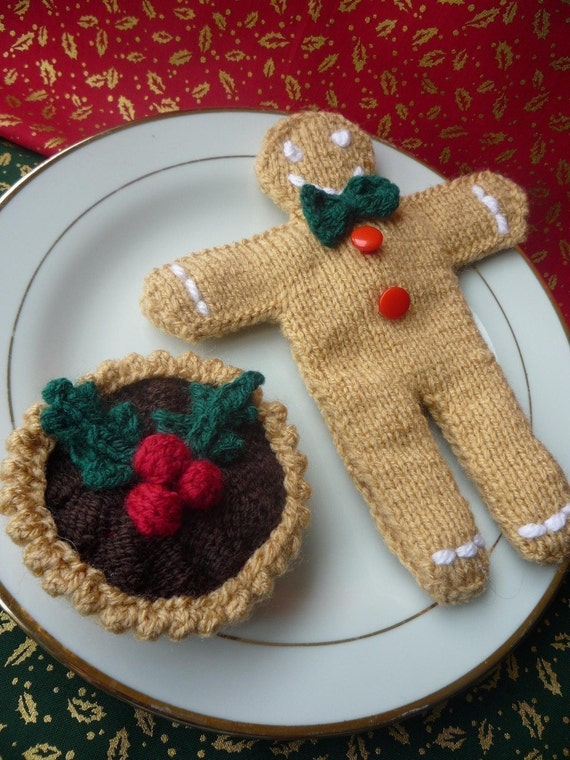 Knitting Pattern For Gingerbread Man And Mince Pie