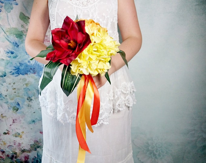 Tropical paradise wedding Small silk bouquet peony fall autumn orange yellow red flowers ribbon best quality artificial leafs
