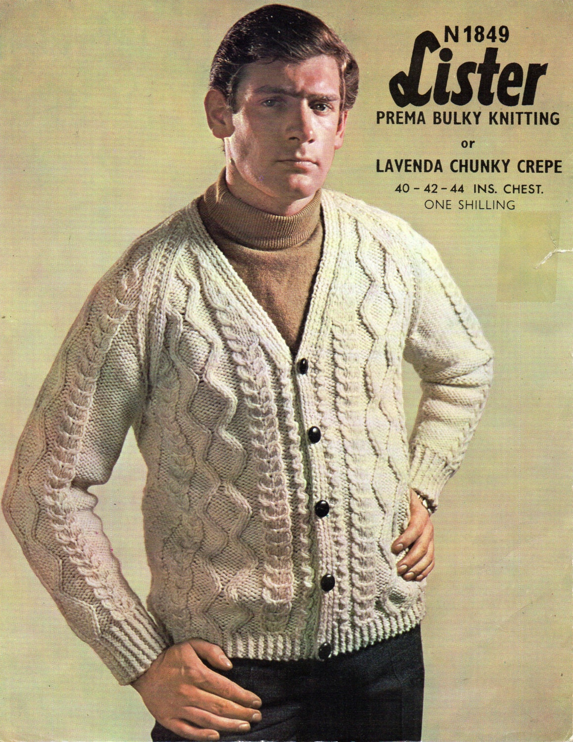 mens aran cardigan knitting pattern pdf chunky cable jacket v