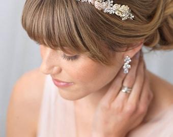 Gold Bridal Headband, Crystal Wedding Headband, Floral Gold Headband, Gold Headpiece, Swarovski Crystal Headband,Bridal Headpiece ~TI-3300