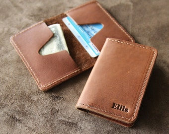 Unique gift ideas for him etsy personalized groomsmen fine leather business card holder wallet bifold groomsman gift gifts the vincent negle Choice Image