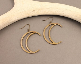 Sky Child brass crescent moon earrings- minimal, modern, boho gold tone crescent moon earrings
