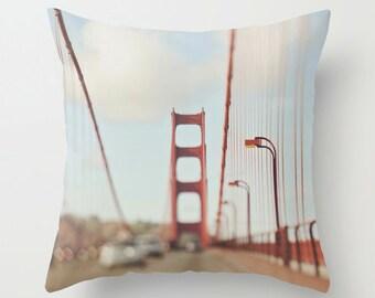 throw pillow, San Francisco, decorative pillow case Golden Gate bridge pillow cover California home decor bedding loft red 18x18 pillow