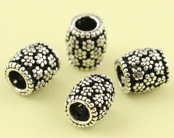 5pcs 7mm 925 Sterling Silver Tiny Tube Flowers Beads / Findings / Spacer, Antique Silver