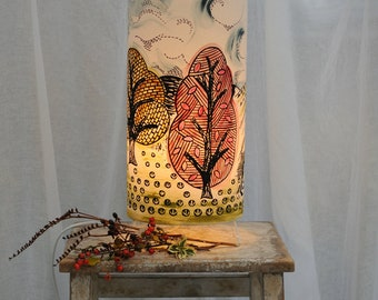 Table Lamp Trees & Fields - Handprinted fabric - Decorative Light