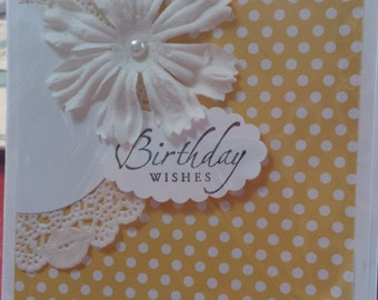 cheerful yellow polka dot flowered  birthday card- free shipping