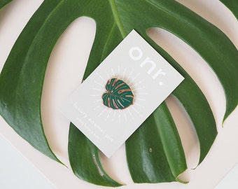 Monstera Leaf Cheese Plant Enamel Lapel Pin Badge //