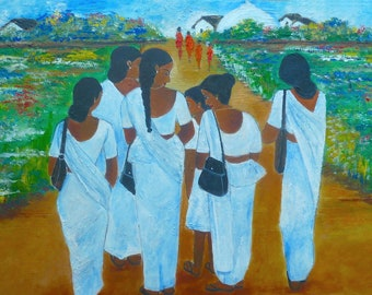 On the Way to Temple, Original Oil Painting
