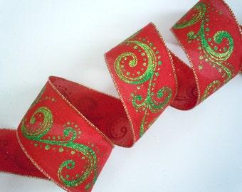 "Red Green Swirls Christmas wired ribbon Sparkle Filigree Swirls Green Red Christmas Wreaths Tree Decor ribbon 2.5"" 5yd"