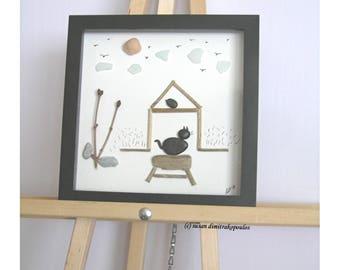 Kitty at the Back Door, original pebble art cat lovers wall art display art, kitten shadow box gift, mixed media,