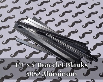 "25 - 5052 Aluminum 1/4"" x 5"" Bracelet Cuff Blanks - Polished Metal Stamping Blanks - 14G 5052 Aluminum - Flat"