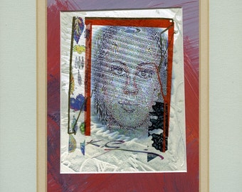 Mixed media collage, Womans face