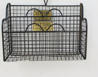 Vintage Wire Desk Top Mail Organizer Letters In Letters Out Black Painted Wire Organizer Home and Living Office Decor Organizer