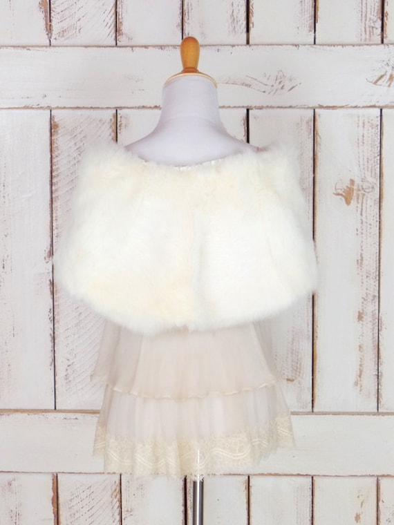 white wedding coverlet capelet 50s caplet fur wrap rabbit bridal vintage light fur ivory stole stole 0APRU4g