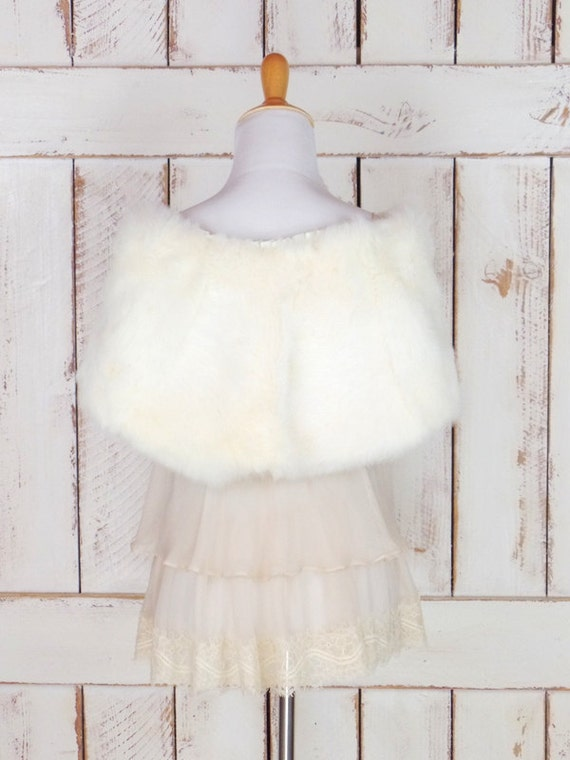 capelet fur ivory fur stole light caplet rabbit coverlet vintage stole white 50s wedding wrap bridal AzFwU8