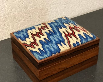Vintage Wood Sewing Box with Needlepoint Embroidered Lid Heartbeat Wavelength Pattern