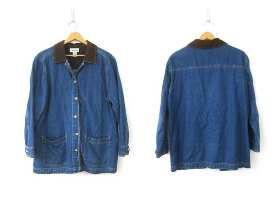 Vintage 90s Barn Jacket Dark Wash Long Denim Jean Jacket Chore Coat Preppy Button Down Pocket Coat Spring Jean Jacket Large
