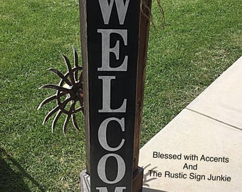 Large welcome signs, Rustic wood welcome signs, Welcome porch signs, Front porch decor, Rustic welcome signs, Front porch wood welcome signs