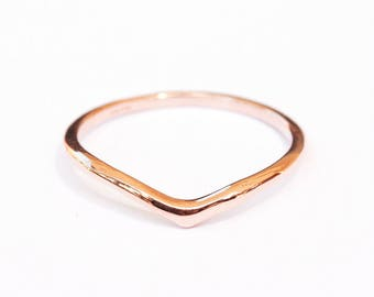 Solid Gold V Ring, Delicate Gold Wedding Band, Dainty Gold Ring, V Wedding Ring, Thin Gold Ring, Delicate Gold Ring, Elegant Wedding Band