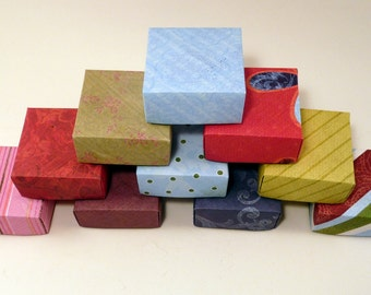 Set of 10 Small Gift Boxes, Jewelry Box, Origami  Box, Favor Box, Hand Made Box, Colorful Box