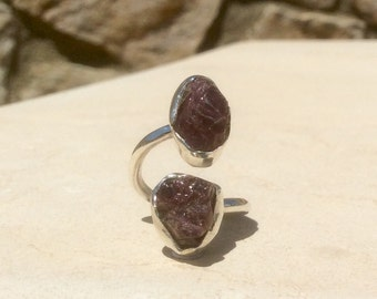 Garnet Ring, Rough Garnet Silver Ring, Dual Stone Ring, Double Stone Ring, Adjustable Silver Stone Ring, Garnet Ring