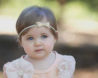 Gold bow headband - Newborn through adult - glitter bow headband