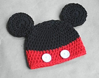 Handmade Cute Mickey mouse baby hat, photo prop