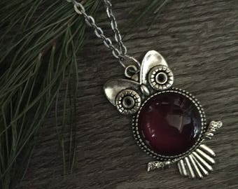 Red Wine Owl Pendant Necklace Jewelry Charm for Purse Bag