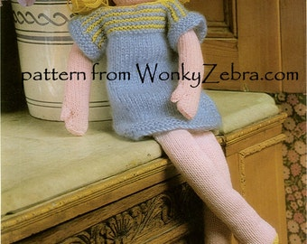 Vintage 70s Toy Doll Knitting Knitted Knit Flora Pattern PDF 536 from WonkyZebra