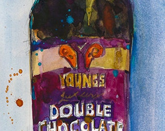 YOUNG'S DOUBLE CHOCOLATE Stout  Beer Art Print Giclee or Archival print