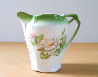 Vintage Bavarian Creamer • Green and White Floral Mini Pitcher • Made in Bavaria Creamer