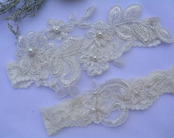 Off White Garter, Wedding Garter, Bridal Garter Set, Garter Set, Wedding Lingerie, Lace Garter, Wedding Gift, Garter Bridal White, Garters