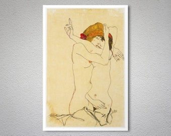 Two Women Embracing by Egon Schiele -  Art Print - Poster Paper, Sticker or Canvas Print / Gift Idea