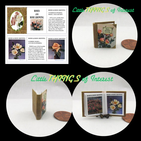 ROSES and ROSE GROWING Miniature Book Dollhouse 1:12 Scale Illustrated Readable Book Garden Plants Flowers