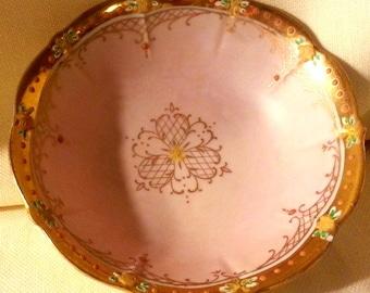 Vintage Hand Painted Bowl in Pink