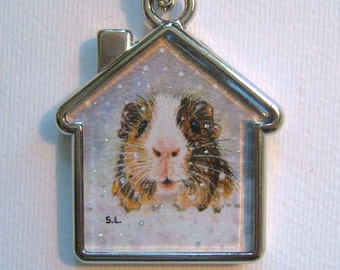GUINEA PIG Keyring/pet carrier/handbag charm with print from original painting by Suzanne Le Good