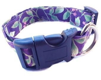 OOAK Unisex Purple Dog Collar, Medium and Large, Fabric Collars, Handmade Adjustable, Ready To Ship