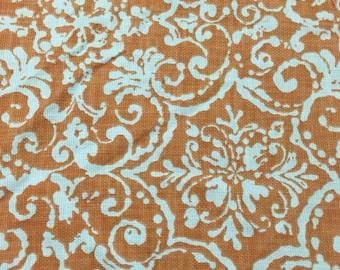 Waverly Cotton Linen Fabric orange and mandala print by the yard Free shipping