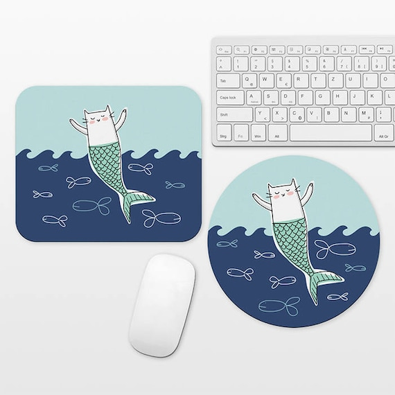 Cat Mermaid Mouse Pad Round or Rectangle, Cat Mouse Pad Mermaid Mousepad Cat Mousepad, Waves Ocean Mouse Pad, Cute Mouse Pad, Aqua Navy Blue